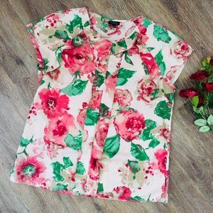 Satin Floral Blouse with Ruffle Front!
